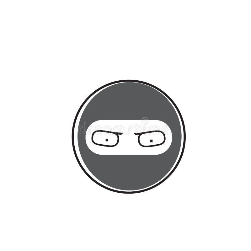Symbol för sinnesrörelse för Ninja Cartoon Face Wear maskeringsfolk stock illustrationer