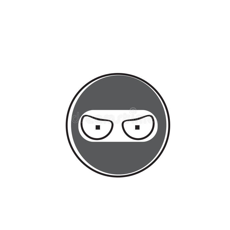 Symbol för sinnesrörelse för Ninja Cartoon Face Wear maskeringsfolk royaltyfri illustrationer