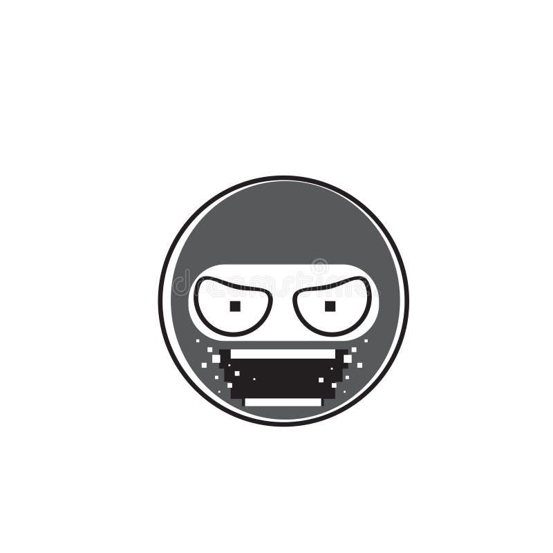 Symbol för sinnesrörelse för Ninja Cartoon Face Wear maskeringsfolk vektor illustrationer