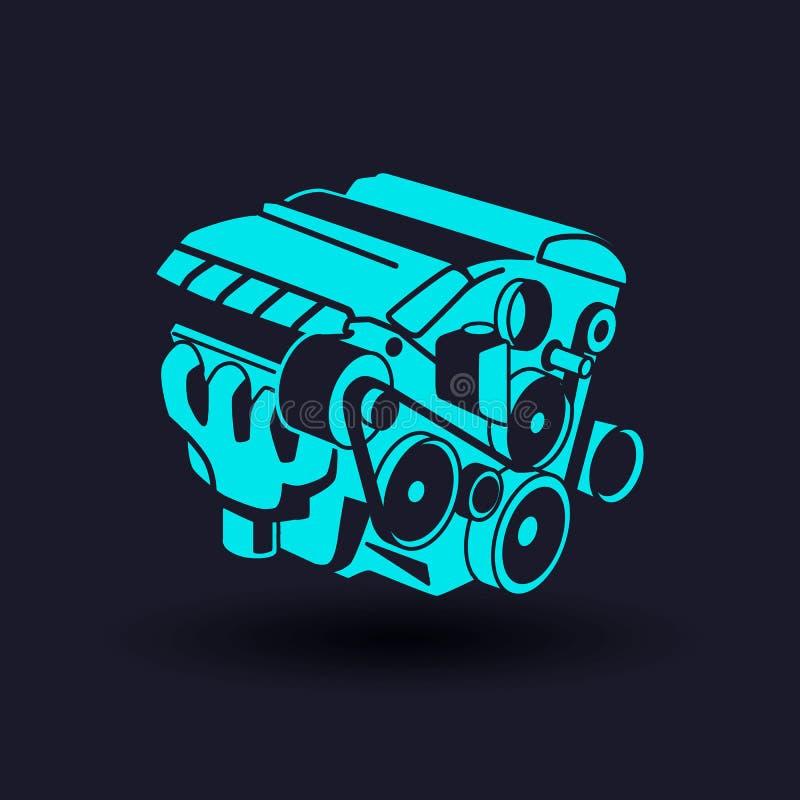 Symbol för skåra för bilmotor motor Kontursymbol Negativt avstånd Vektor isolerad illustration stock illustrationer