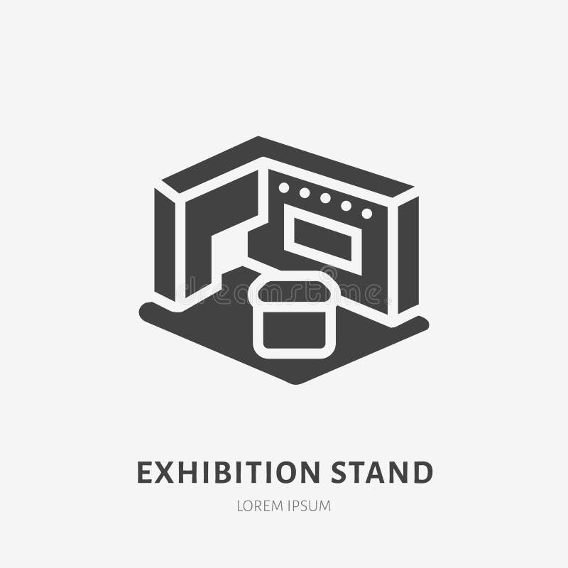 Symbol för skåra för lägenhet för utställningbanerställning Tecken för handelshow Fast konturlogo för att marknadsföra händelse royaltyfri illustrationer