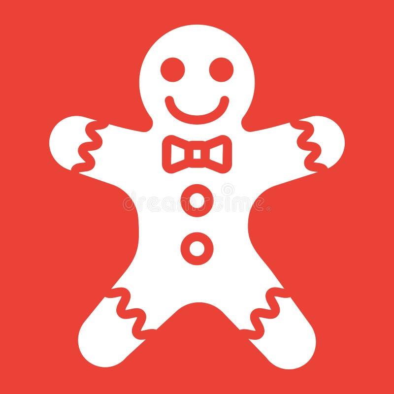 Symbol för skåra för pepparkakaman, nytt år och jul stock illustrationer