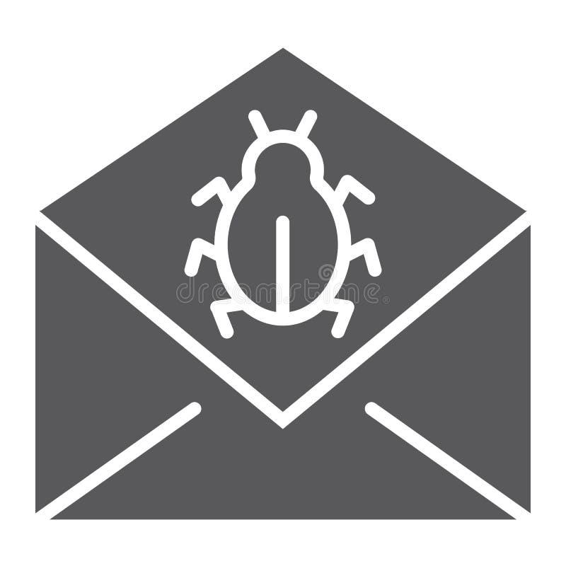 Symbol för skåra för postvirusattack, meddelande och säkerhet, emailtecken, vektordiagram, en fast modell på en vit bakgrund stock illustrationer