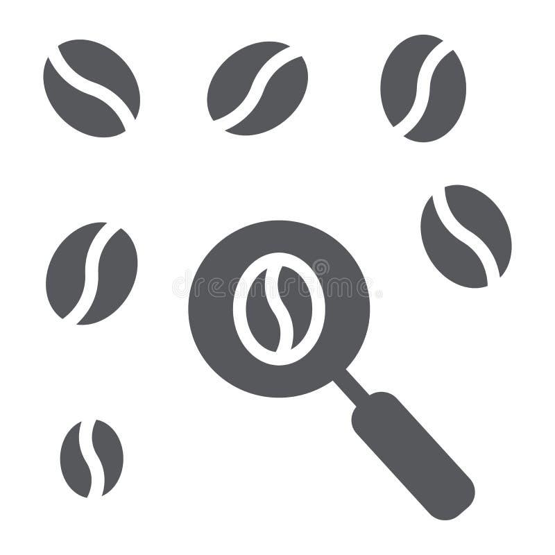 Symbol för skåra för valkaffebönor, mat och kaffe, valt tecken för kaffe, vektordiagram, en fast modell på ett vitt stock illustrationer