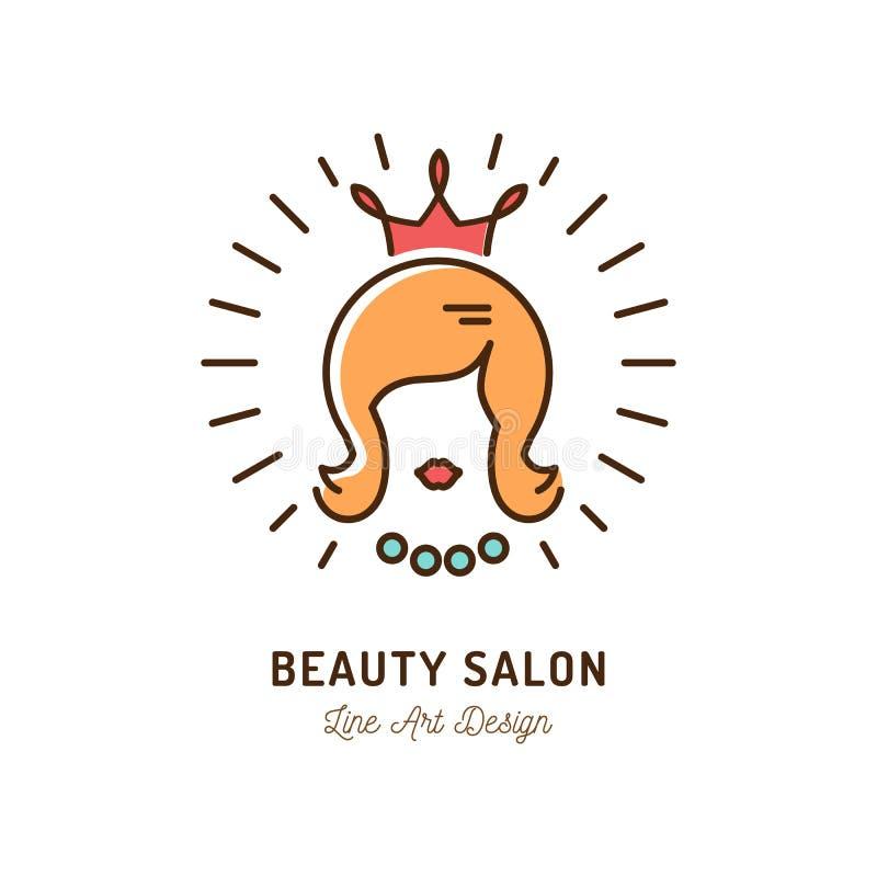 Symbol för skönhetsalong, drottningskönhetlogo, friseringsalongsymbol Kontur av en kvinna med en krona Tunn linje konst vektor illustrationer
