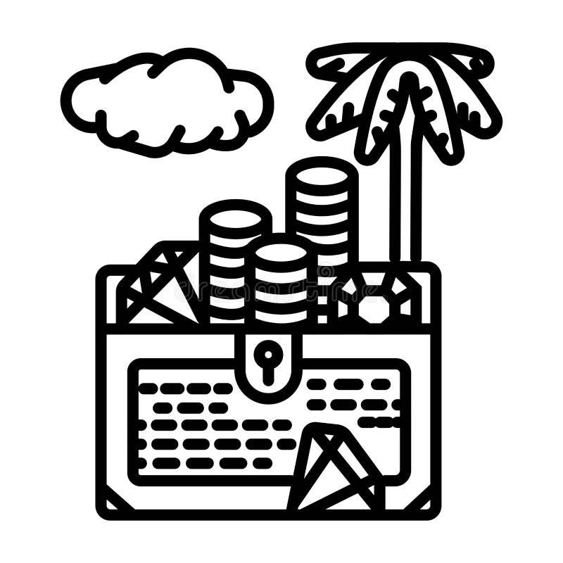 Symbol för skattbröstkorg, skattaskvektor royaltyfri illustrationer