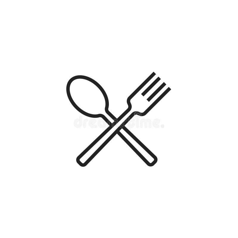 Symbol för sked- och gaffelOultine vektor, symbol eller logo royaltyfri illustrationer