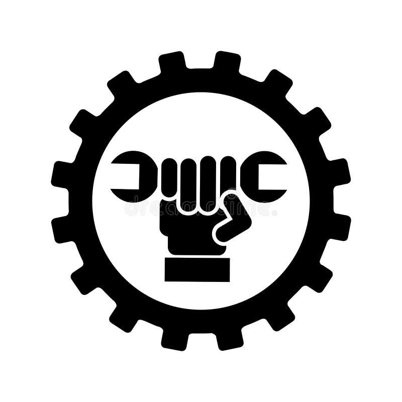 Symbol för skiftnyckelmekanikerhjälpmedel stock illustrationer