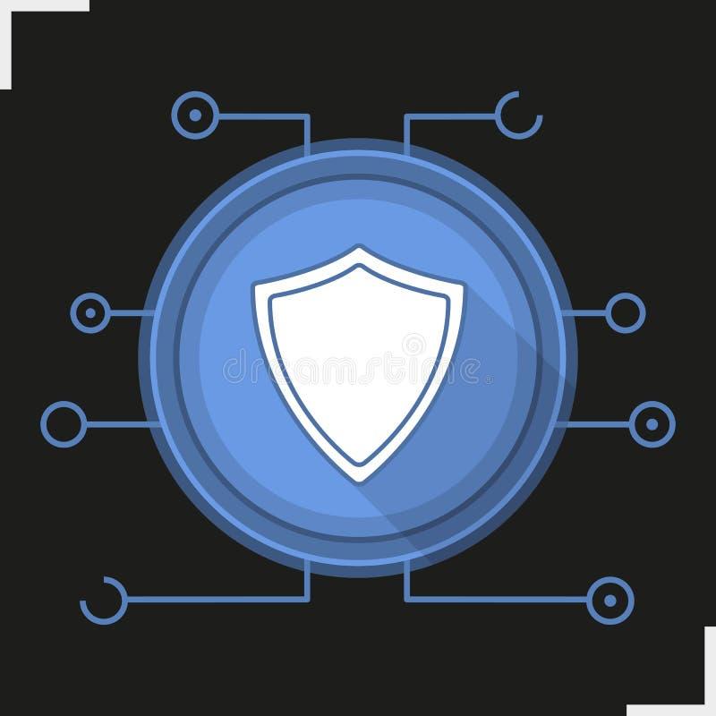 Symbol för skugga för design för Cybersäkerhetslägenhet lång royaltyfri illustrationer