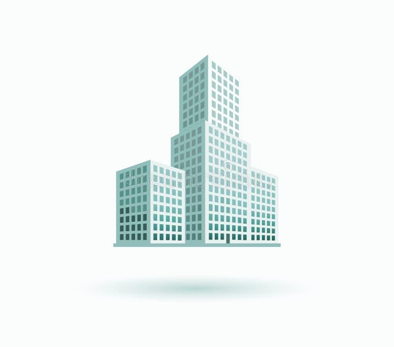 Symbol för skyskrapahusbyggnad stock illustrationer