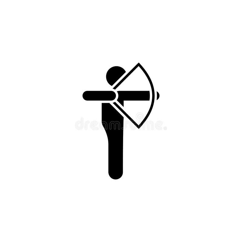 Symbol för skytte för manlopppilbåge Beståndsdel av pictogramaffärsföretagillustrationen royaltyfri illustrationer