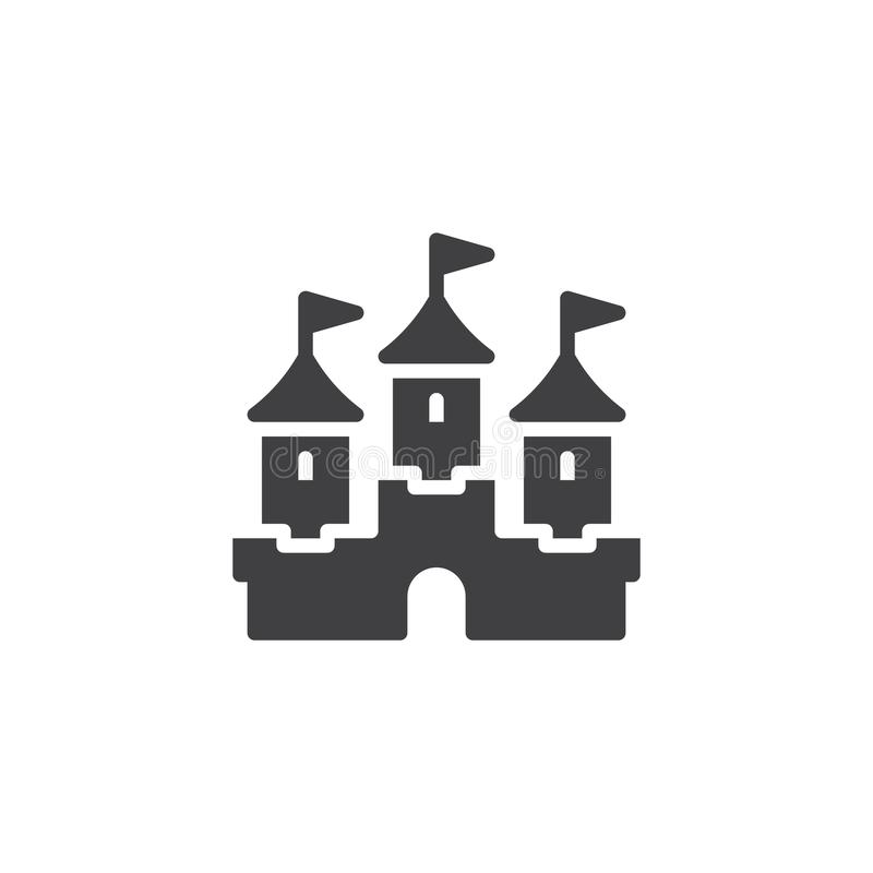 Symbol för slottbyggnadsvektor stock illustrationer