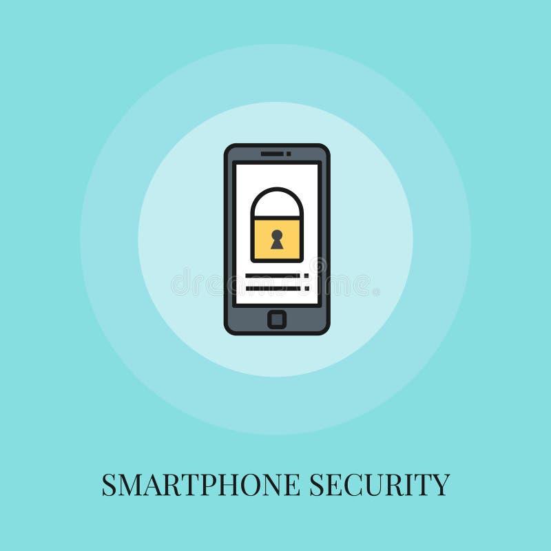 Symbol för Smartphone säkerhetsbegrepp vektor illustrationer