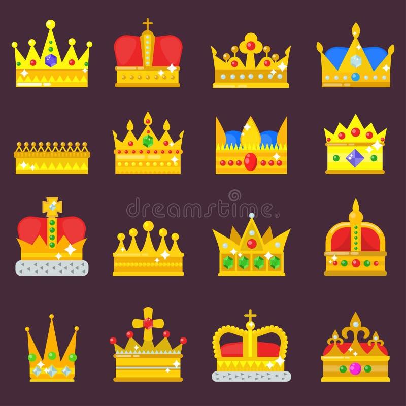 Symbol för smycken för kronavektoruppsättning guld- kungligt av konungdrottningprinsessan som krönar jeweles för prinsmyndighetsk royaltyfri illustrationer