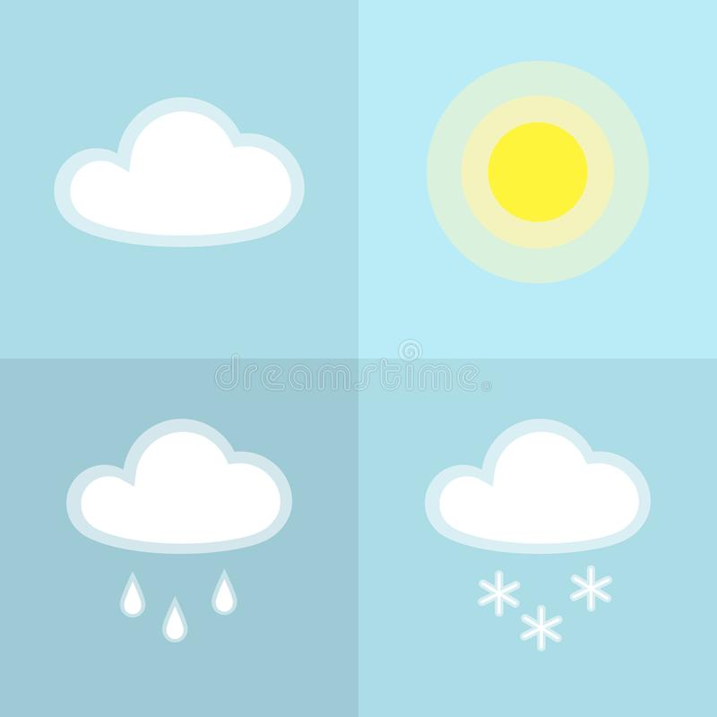 Symbol för snö för solmolnregn som enkel isoleras på beståndsdel för design för blått väder för bakgrundssymbolssymbol soligt mol vektor illustrationer