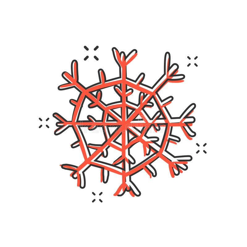 Symbol för snöflinga för vektortecknad film hand dragen i komisk stil Snö fl royaltyfri illustrationer