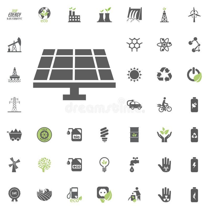 Symbol för solenergistation Uppsättning för Eco och för alternativ energi vektorsymbol Vektor för uppsättning för resurs för makt royaltyfri illustrationer