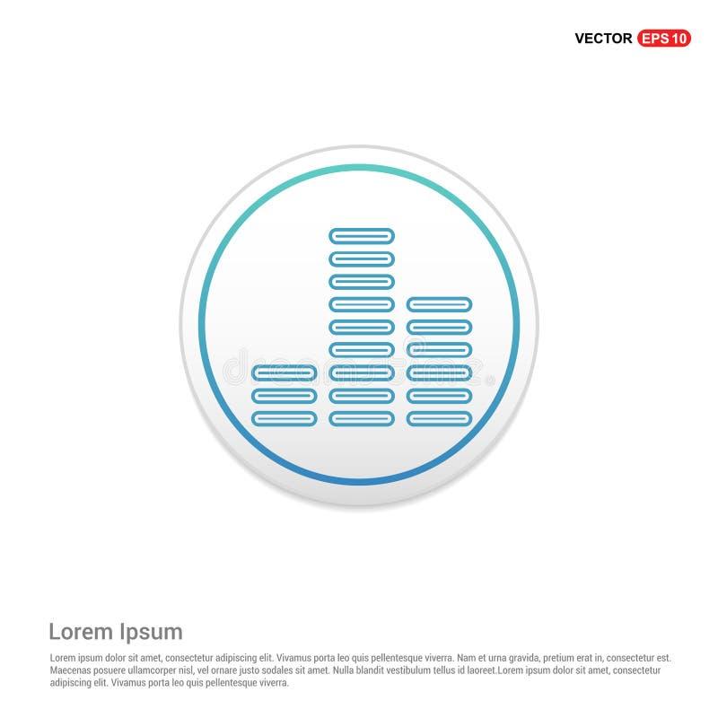 Symbol för solid våg för musik - vit cirkelknapp stock illustrationer