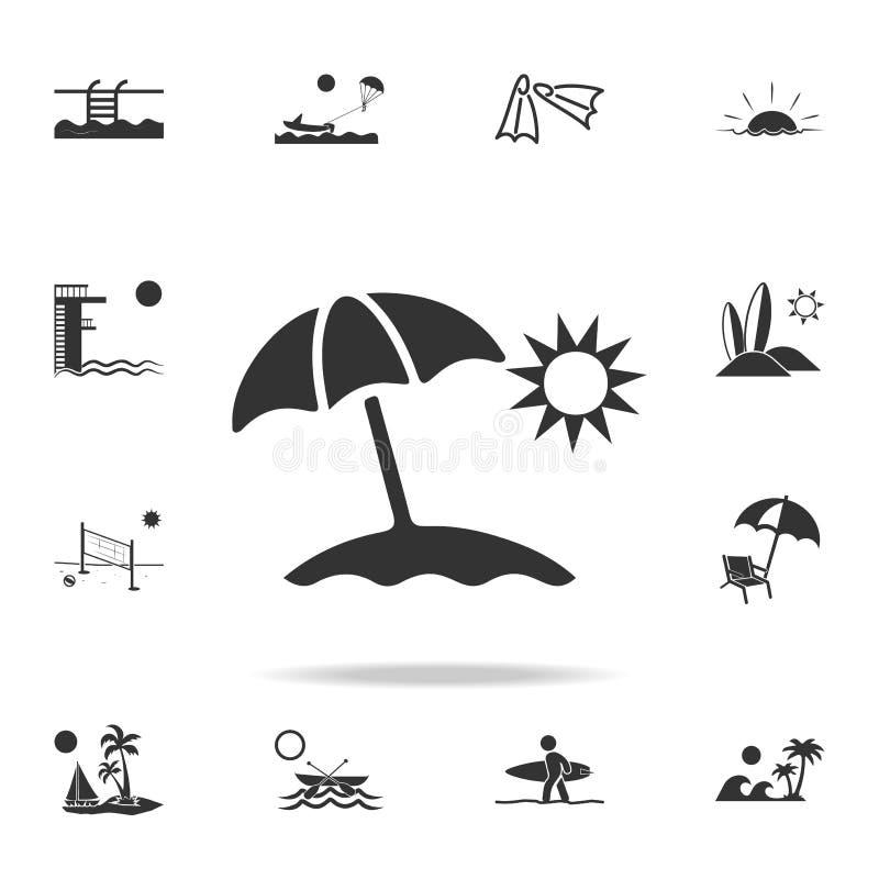 Symbol för solparaply Den detaljerade uppsättningen av stranden semestrar symboler Högvärdig kvalitets- grafisk design En av saml royaltyfri illustrationer