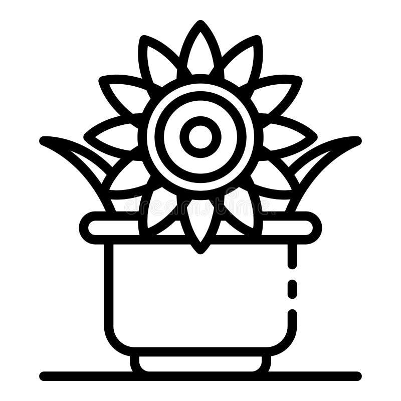 Symbol för solrosväxtkruka, översiktsstil vektor illustrationer