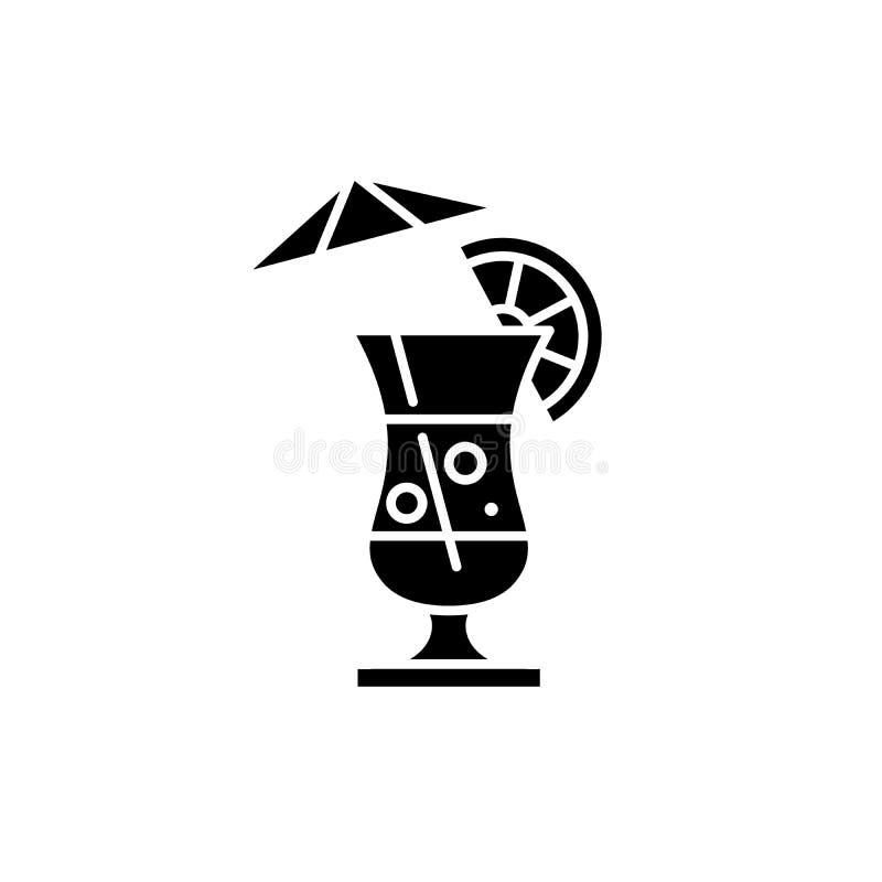 Symbol för sommarcoctailsvart, vektortecken på isolerad bakgrund Symbol för sommarcoctailbegrepp, illustration stock illustrationer