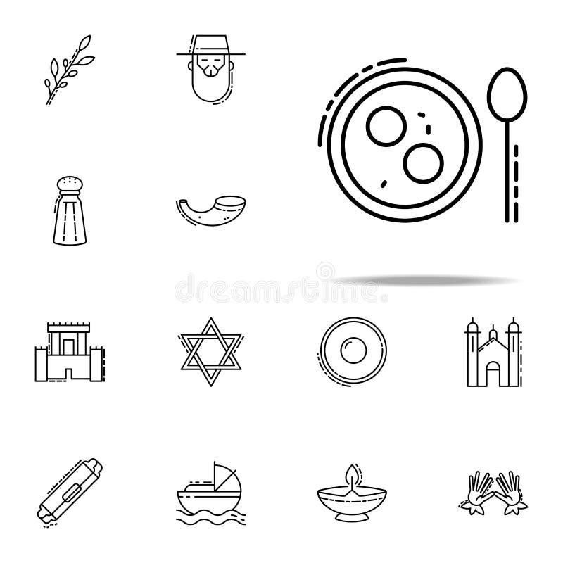 Symbol för soppa för Matzoboll Universell uppsättning för judendomsymboler för rengöringsduk och mobil royaltyfri illustrationer