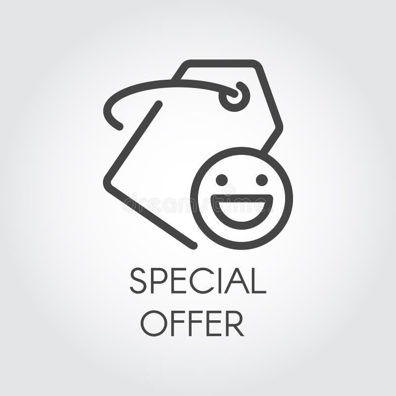 Symbol för specialt erbjudande för beställningar och köp Linje prislapp med det positiva leendet för diversehandel och att boka p stock illustrationer