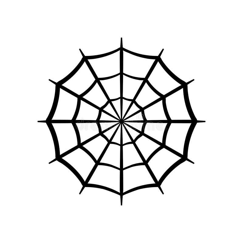 Symbol för spindelrengöringsduk Kontur för cirkelspindelnätvektor Spiderweb gemkonst Plan vektorillustration vektor illustrationer