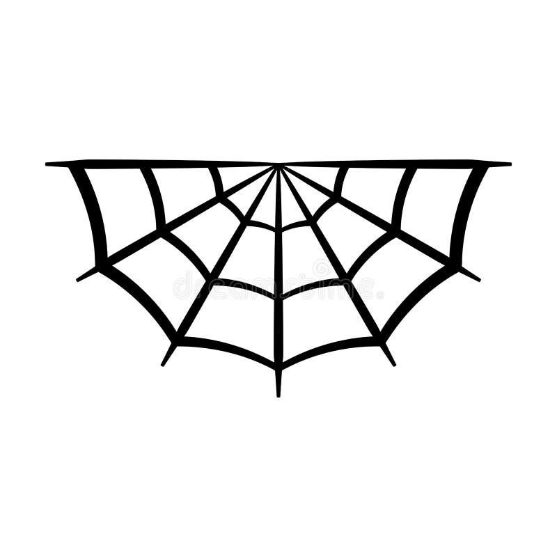 Symbol för spindelrengöringsduk Spindelnätvektorkontur Spiderweb gemkonst Plan vektorillustration stock illustrationer