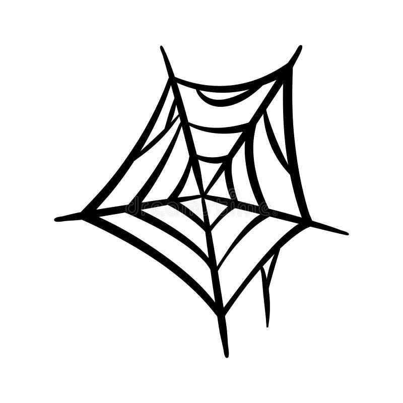 Symbol för spindelrengöringsduk Spindelnätvektorkontur Spiderweb gemkonst Plan vektorillustration royaltyfri illustrationer
