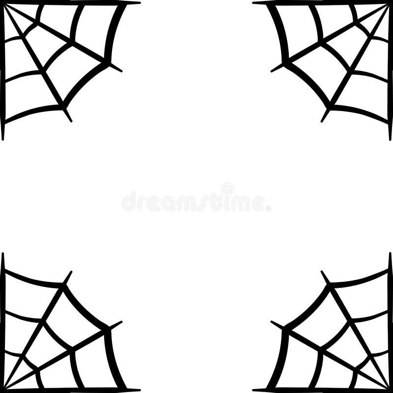 Symbol för spindelrengöringsduk Spindelrengöringsdukram Spindelnätvektorkontur Spiderweb gemkonst Plan vektorillustration stock illustrationer