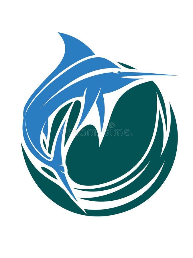 Symbol för sportfiske med en hoppasvärdfisk eller royaltyfri illustrationer