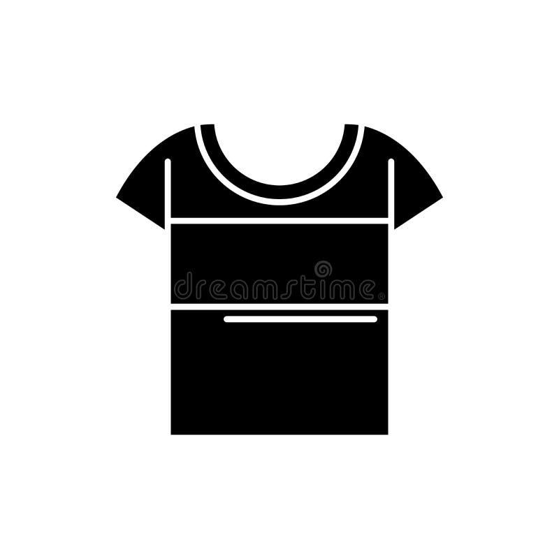 Symbol för sportt-skjorta svart, vektortecken på isolerad bakgrund Symbol för sportt-skjorta begrepp, illustration vektor illustrationer