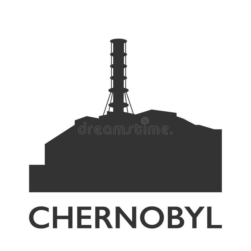 Symbol för station Tjernobyl för kärn- atom elektrisk royaltyfri illustrationer