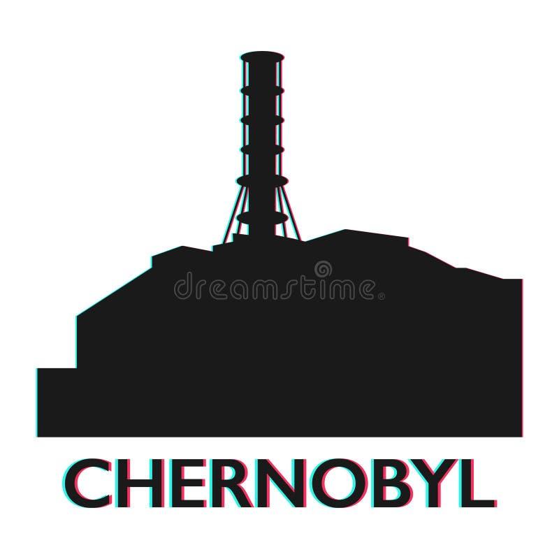 Symbol för station Tjernobyl för kärn- atom elektrisk stock illustrationer