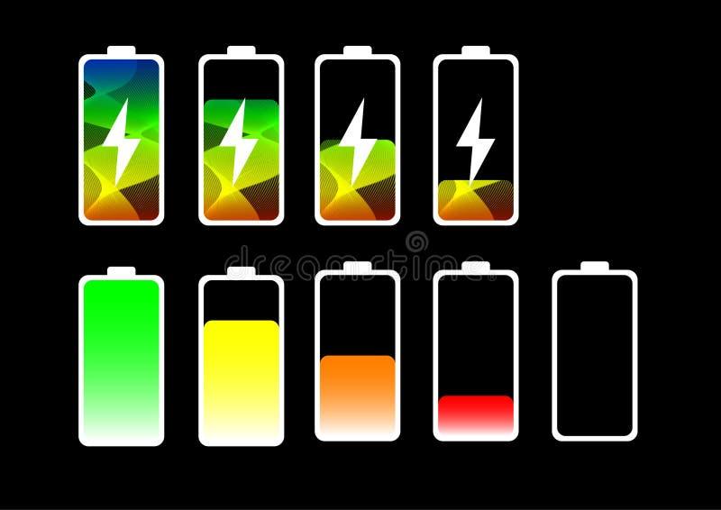 Symbol för status för batteri för mobiltelefon för lutningband laddande plan royaltyfri illustrationer