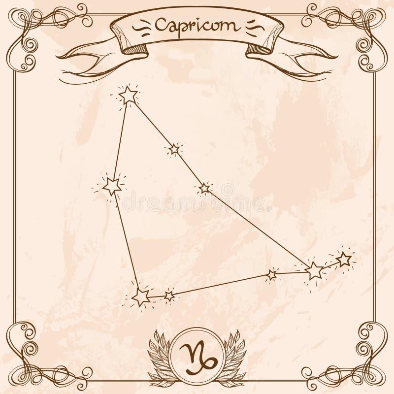 Symbol för Stenbockenkonstellationtappning Schematisk framställning av tecknet av zodiaken stock illustrationer