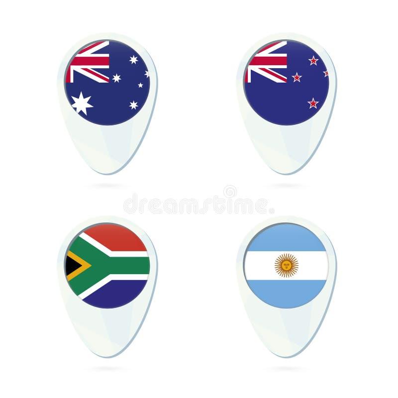 Symbol för stift för översikt för Australien Nya Zeeland, Sydafrika, Argentina flaggaläge stock illustrationer