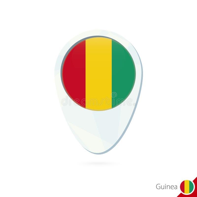 Symbol för stift för översikt för Guinea flaggaläge på vit bakgrund stock illustrationer