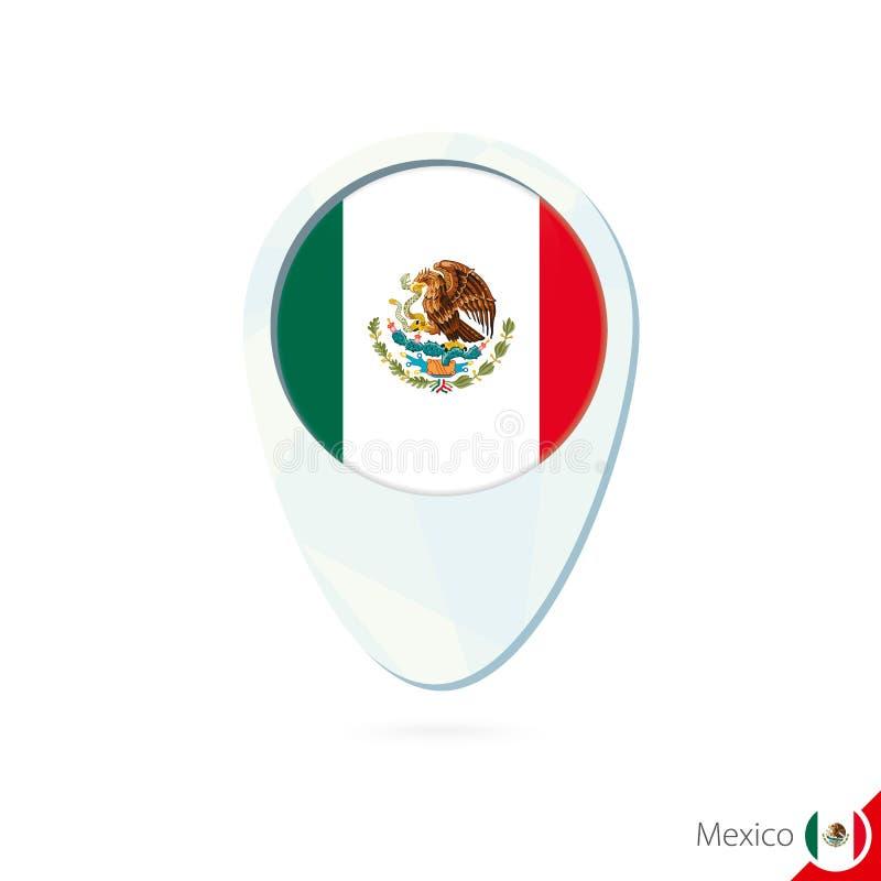 Symbol för stift för översikt för Mexico flaggaläge på vit bakgrund royaltyfri illustrationer