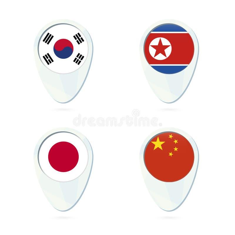 Symbol för stift för översikt för Sydkorea Nordkorea, Japan, Kina flaggaläge royaltyfri illustrationer