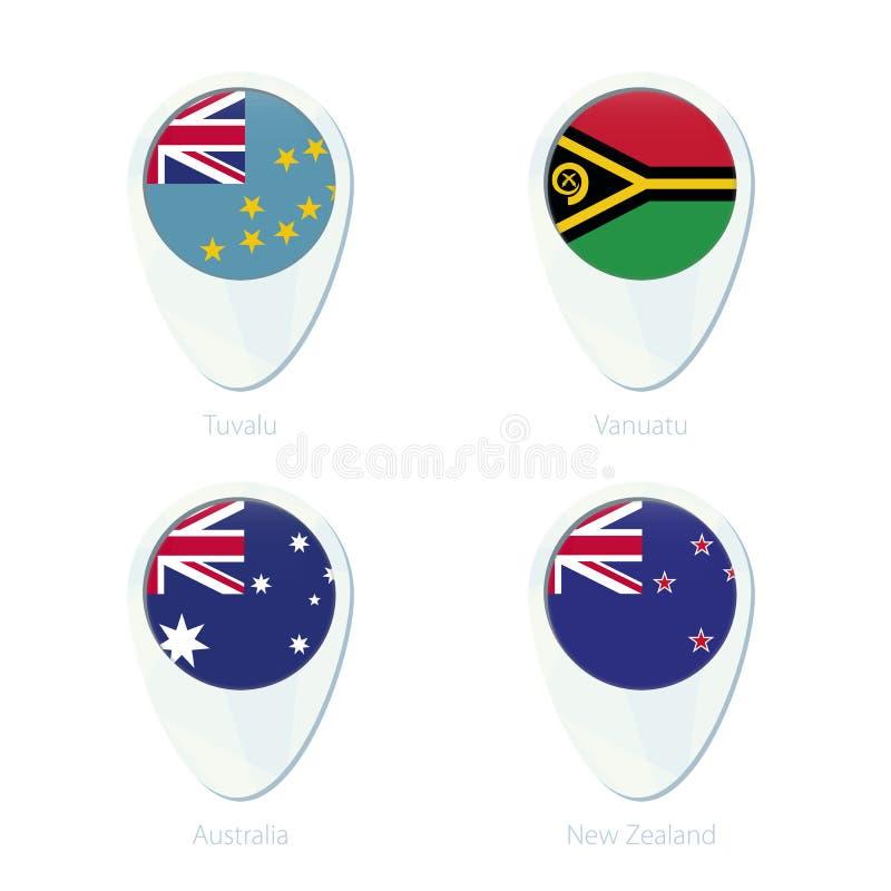Symbol för stift för översikt för Tuvalu Vanuatu, Australien, Nya Zeeland flaggaläge vektor illustrationer