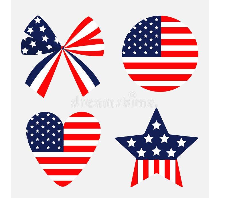Symbol för stjärnor och för remsor för amerikanska flaggan för stjärna för hjärta för runda för bandpilbågeform isolerat röd och  vektor illustrationer