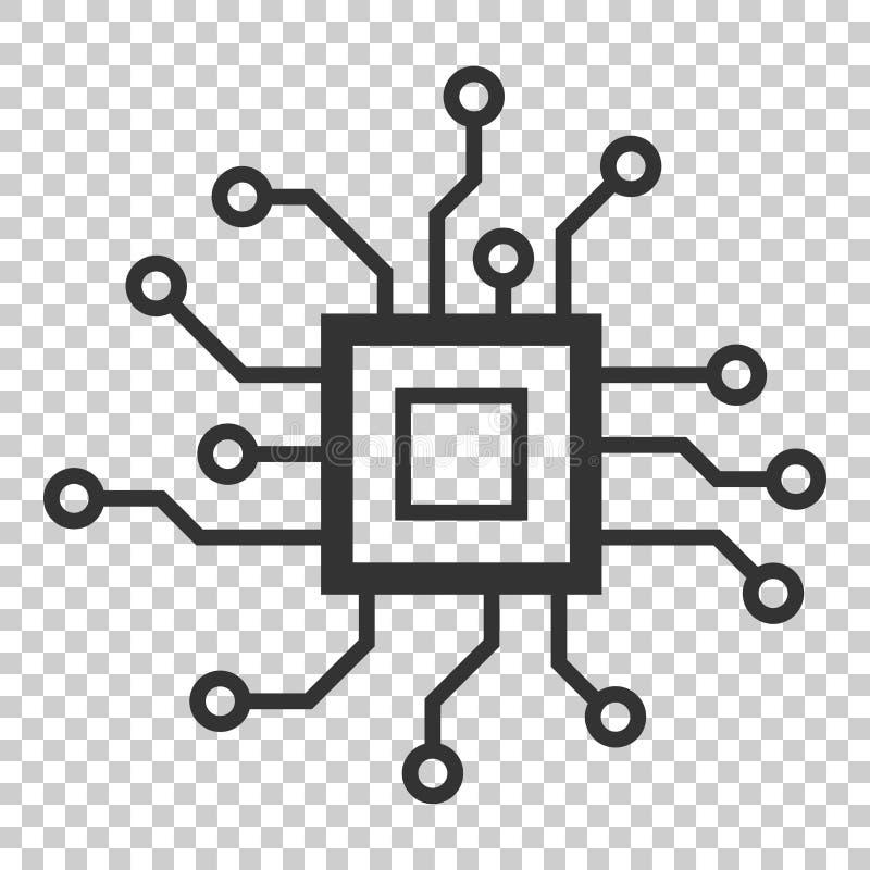 Symbol för strömkretsbräde i plan stil Teknologimikrochipsvektor il royaltyfri illustrationer