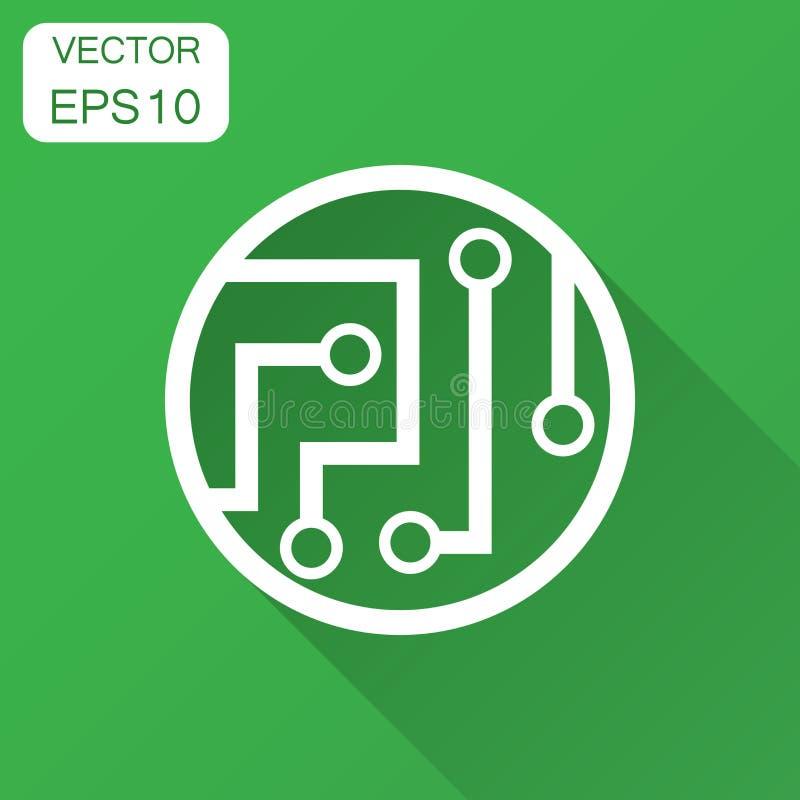 Symbol för strömkretsbräde i plan stil Teknologimikrochipsvektor il vektor illustrationer