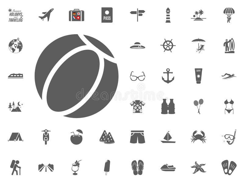 Symbol för strandboll Sommarferier och resande vektorsymbolsuppsättning royaltyfri illustrationer