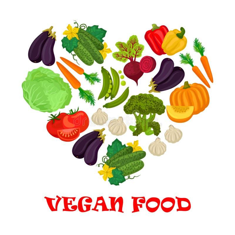 Symbol för strikt vegetarianmathjärta av grönsaksymboler vektor illustrationer