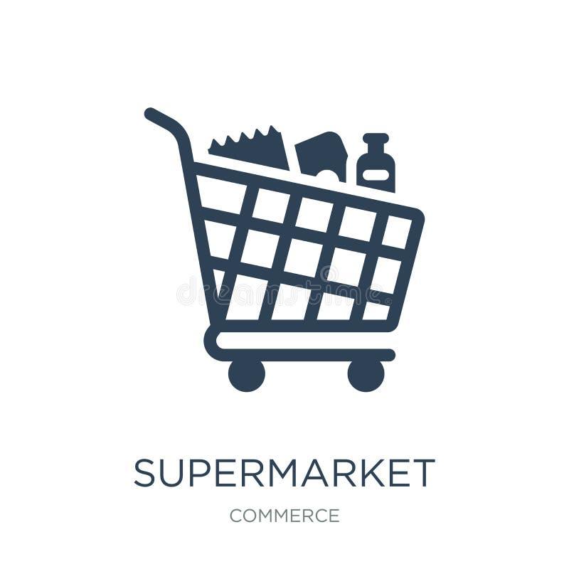 symbol för supermarketshoppingvagn i moderiktig designstil symbol för supermarketshoppingvagn som isoleras på vit bakgrund superm stock illustrationer