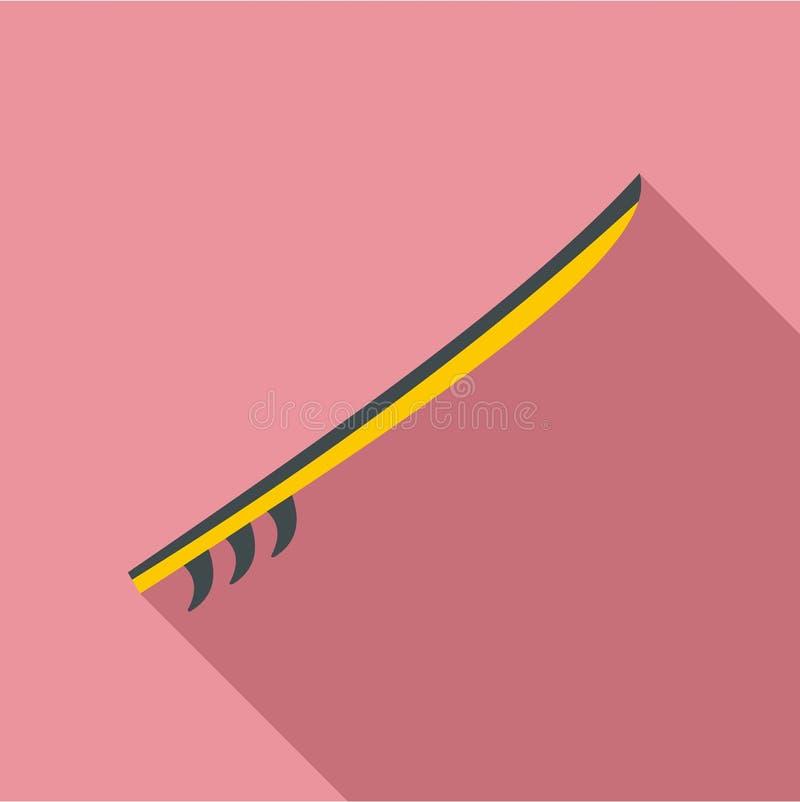 Symbol för surfingbräda för guling för sidosikt, lägenhetstil vektor illustrationer