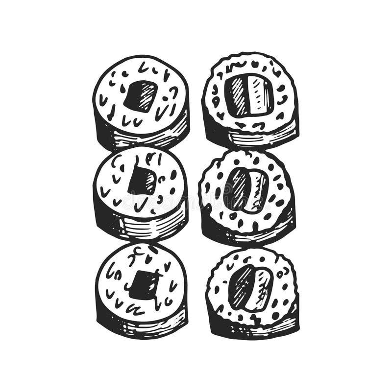 Symbol för sushirullar isolerat teckningsobjekt stock illustrationer